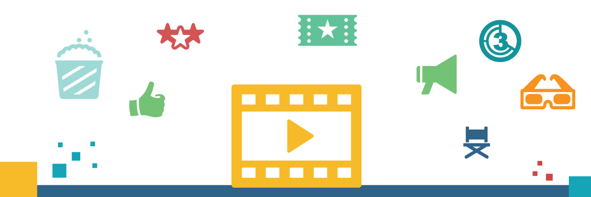 Images of movie icons - stars, video play button, popcorn, thumbs up, etc